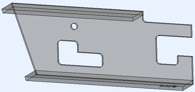 Het voorbeeld 3D-model gegenereerd met de inkeping hoek type Fillet arc ingeschakeld