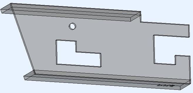 Dit is het voorbeeld 3D-model dat de 3 verschillende snede types bevat. Dit is het oorspronkelijke ongewijzigde model dus gegenereerd met de inkeping hoek type Geen