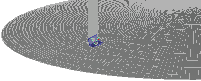 Example of a clipangle drawn against a spherical volume, which could be the roof of a tank