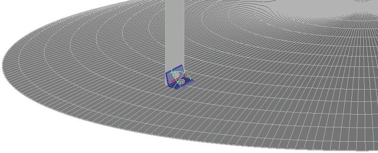 Voorbeeld van een hoekprofiel dat tegen een bolvormig volume werd getekend, dat het dak van een tank zou kunnen zijn