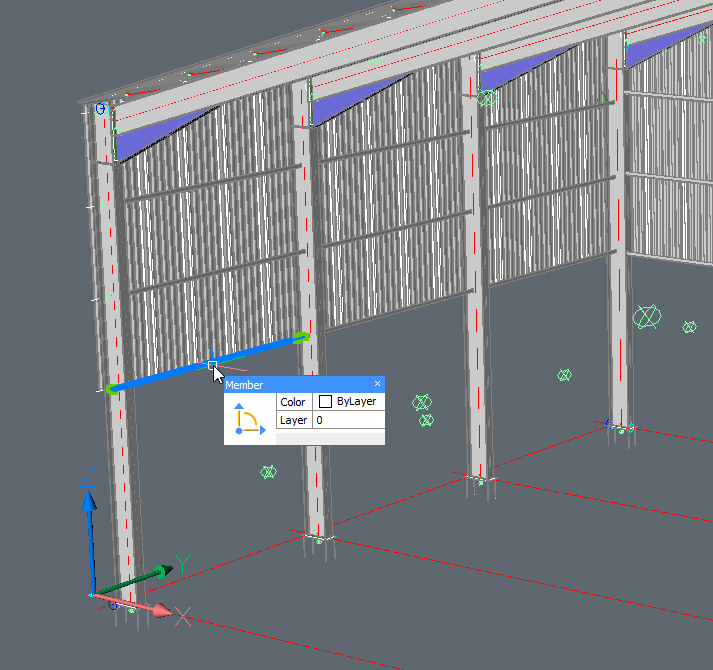 This is a Parabuild portal frame template that was fully parameterized, and we're double-clicking one of the side rails.