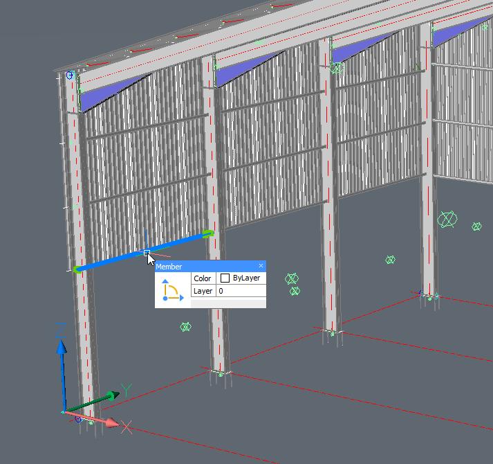 Dit is een Parabuild portiek sjabloon dat volledig geparametriseerd werd, en we dubbelklikken op één van de zijgordingen.