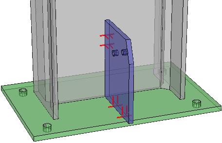 Een voorbeeld voetplaat en schetsplaat waar alleen match lines werden ingeschakeld