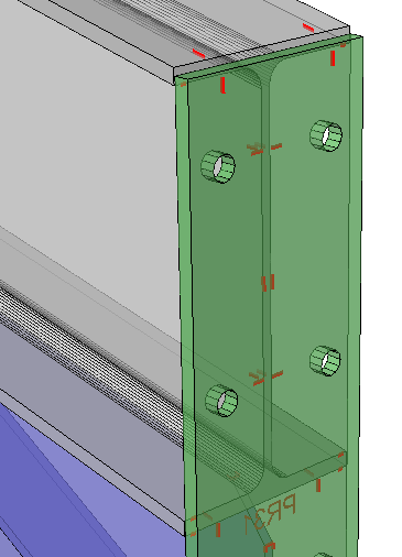 Example of a haunch connection end-plate, with it's hole match lines transferred to the flange. The scribing on the outside of the end-plate can be turned off