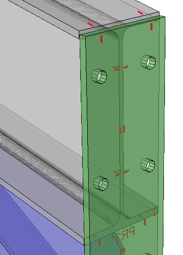 Voorbeeld van een hoekverbinding kopplaat, met gat match lijnen overgebracht naar de flens. Het krassen aan de buitenkant van de kopplaat kan uitgeschakeld worden