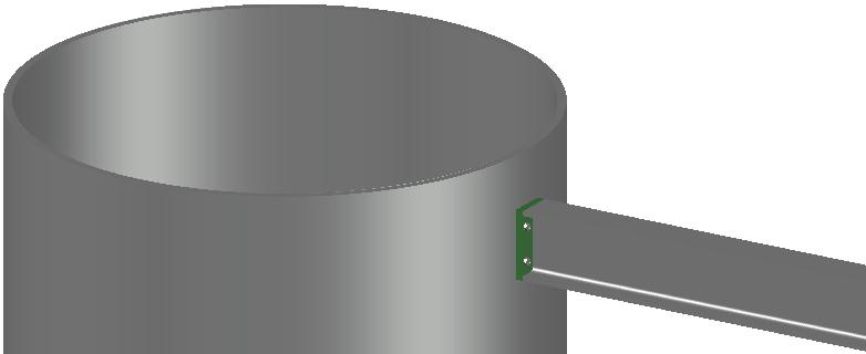 Voorbeeld van een kopplaat dat werd getekend tegen een cilindrisch profiel
