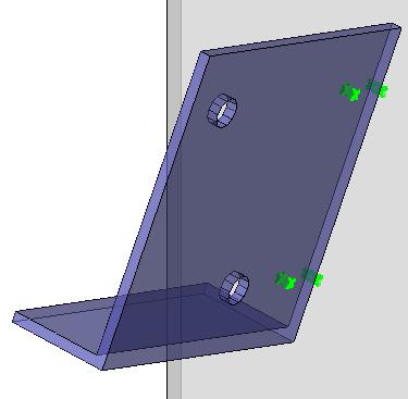 Een voorbeeld met puntmarkeringen op zowel het hoofdonderdeel als op het aangehechtte onderdeel, geen contouren en geen onderdeelnummers