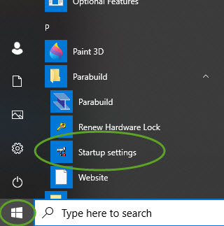 Where to find the Parabuild Startup settings tool in Windows
